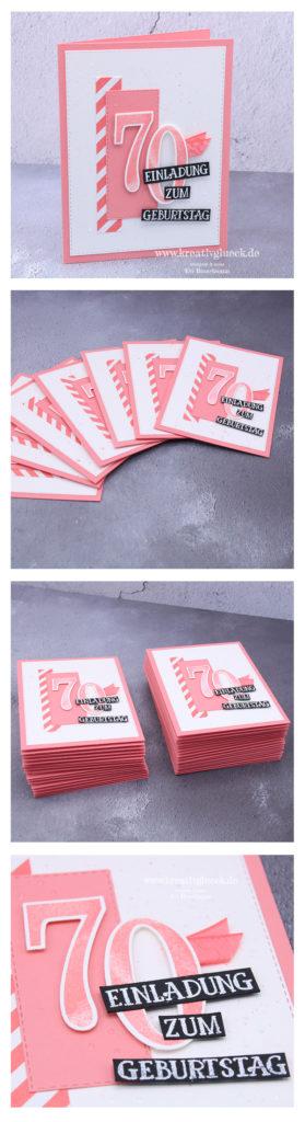 Einladungskarten zum 70. Geburtstag in Flamingorot