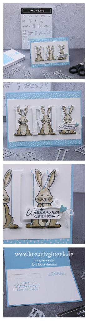 Babykarte mit dem Stempelset Hasengrüße