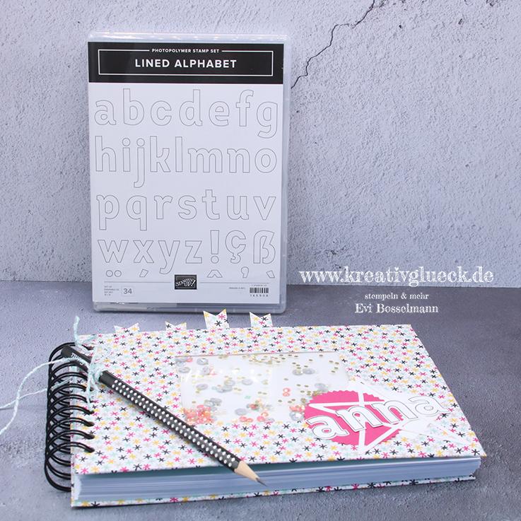 Skizenbuch mit dem Stempelset Lined Alphabet