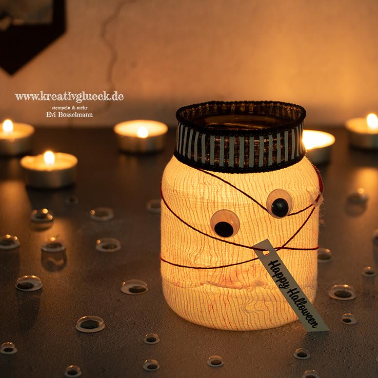 Windlicht-Mumie zu Halloween