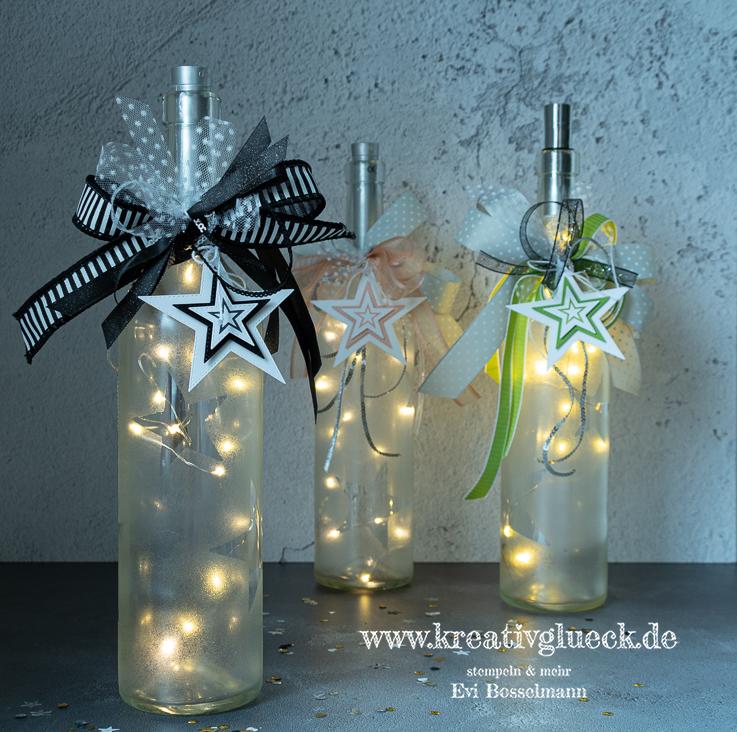 Lichterflaschen mit gefrostetem Glas