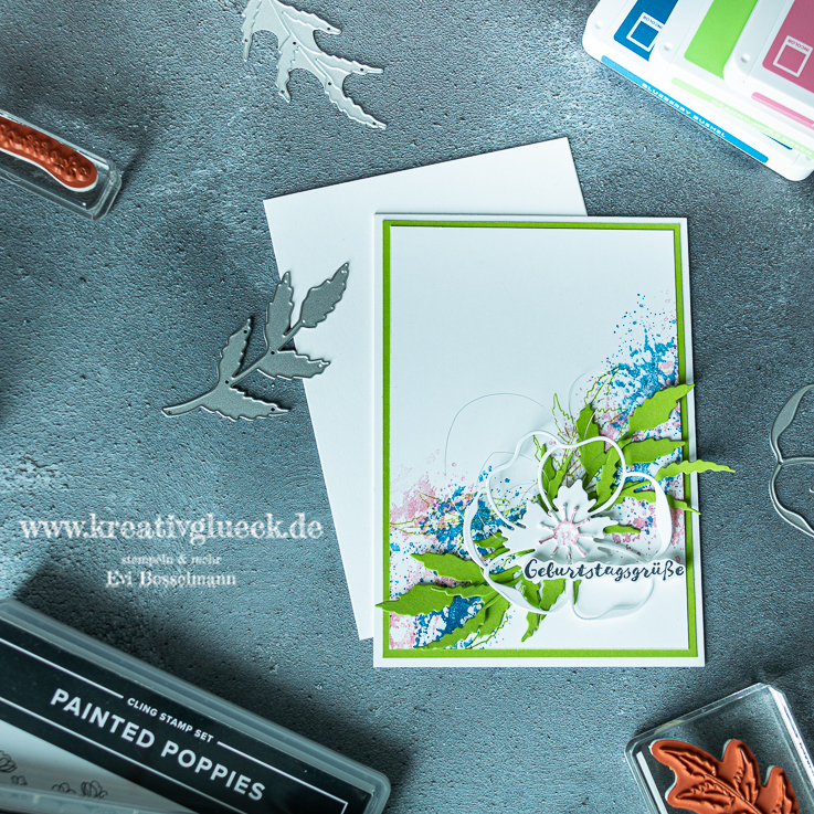 Geburtstagskarte in Grüner Apfel, Blaubeere und Rokoko Rosa