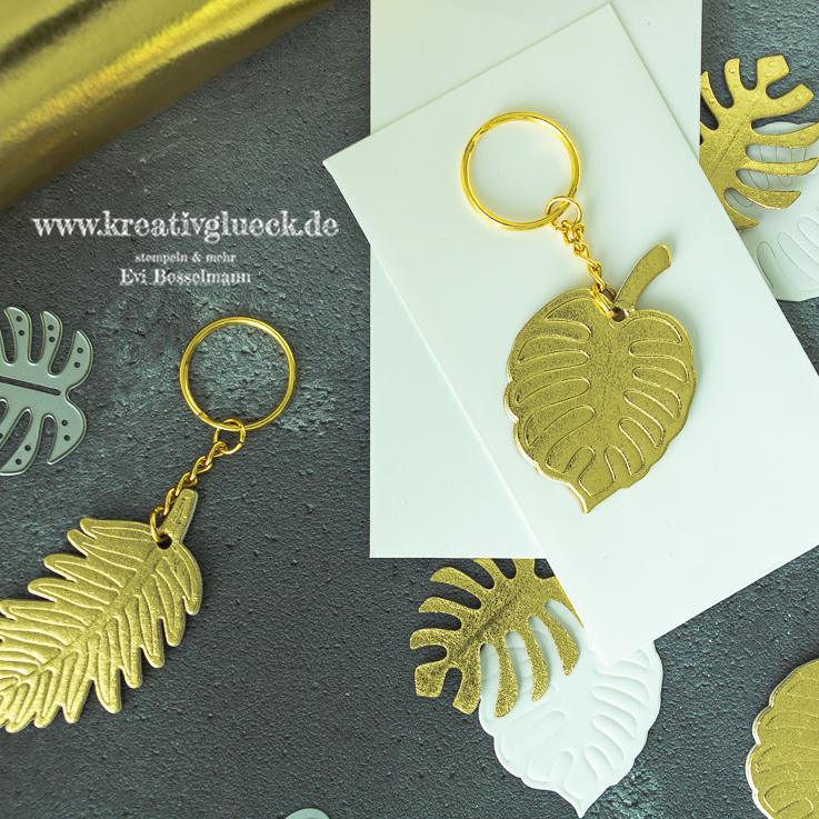 Selbstgemachte Schlüsselanhänger mit den Stanzformen Palmengarten
