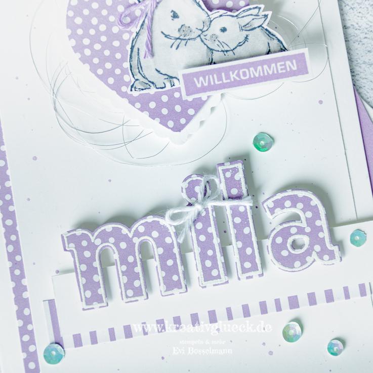 Willkommen Mila, Karte zur Geburt