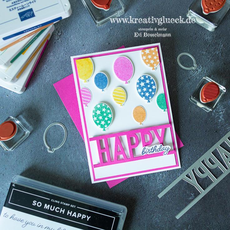 """Geburtstagskarte mit dem Produktpaket """"So Much Happy"""" oder auf Deutsch """"Hurra""""."""