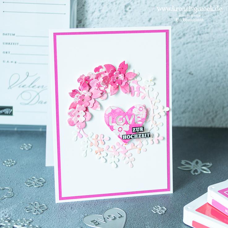 Blumige Karte zur Hochzeit