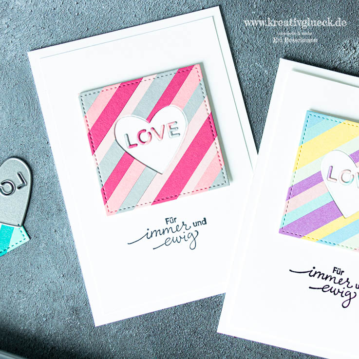 Hochzeitskarte in Colorblock-Technik