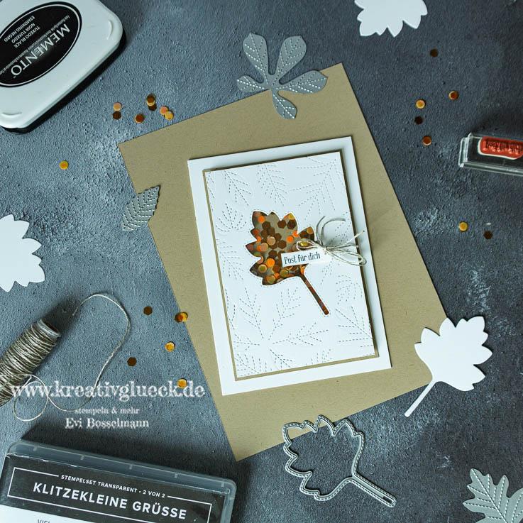 """Herbstliche Grußkarte """"Post für Dich"""" zum Weltkartenbasteltag"""