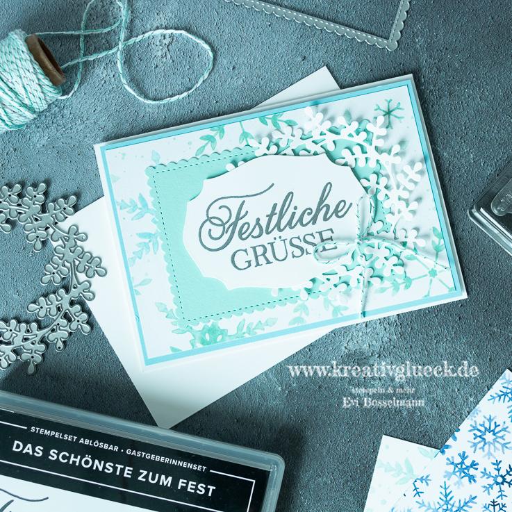 Grußkarte zu Weihnachten mit Embossing-Technik