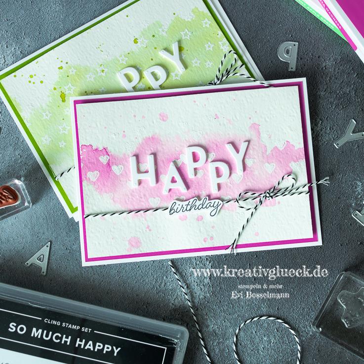Happy Birthday Karte im Aquarell-Look