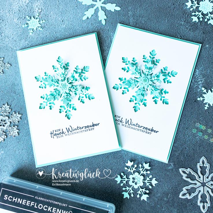 """Grußkarte zum Weihnachtsfest mit dem Produktpaket """"Schneeflockenwünsche"""" von Stampin' Up!"""